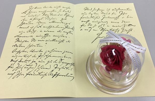 お花ソムリエ バースデーミニドームと手紙