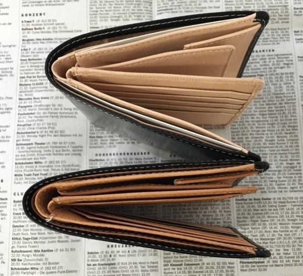 名入れ無料のグレンチェックのブライドルレザー二つ折り財布の経年変化