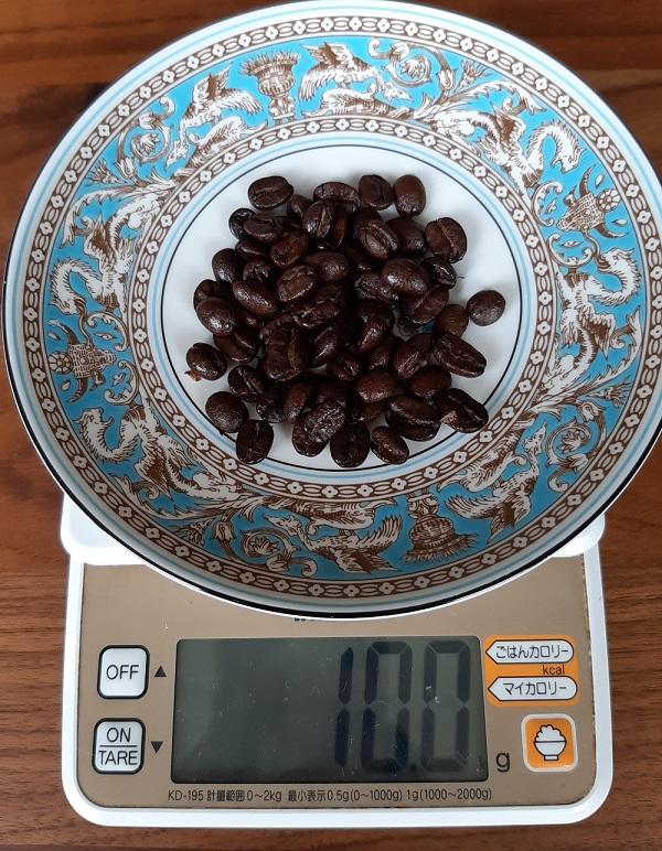 コーヒー一杯分のコーヒー豆10g