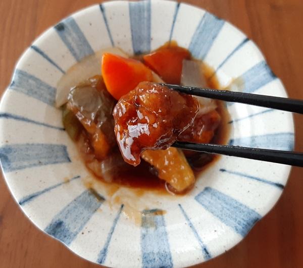 大阪泉州三水茄子と石見ポークの酢豚