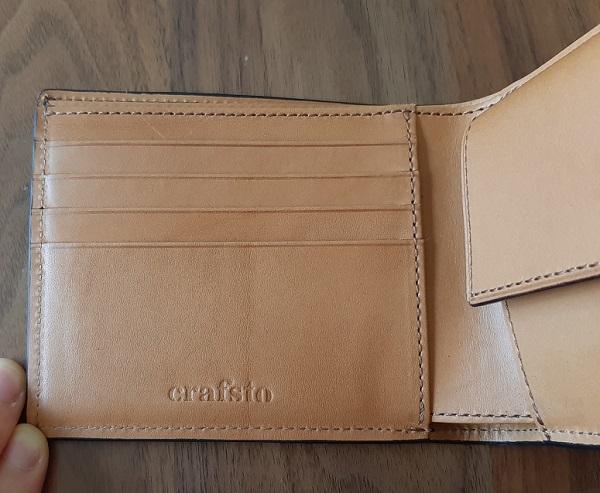 クラフスト(crafsto)のブライドルレザー 二つ折り財布の内装、カード入れ部分