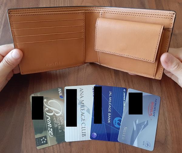 クラフスト(crafsto)のブライドルレザー 二つ折り財布のカードポケット